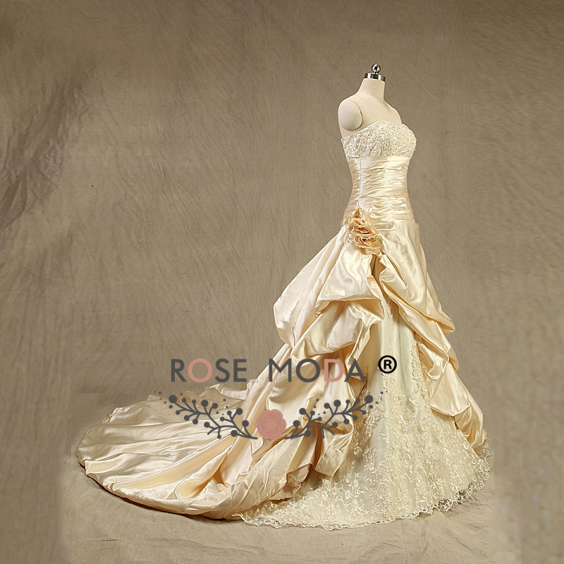 Rose Moda Champagne Wedding Dress 3D Roses Plus Size Wedding Dresses ...