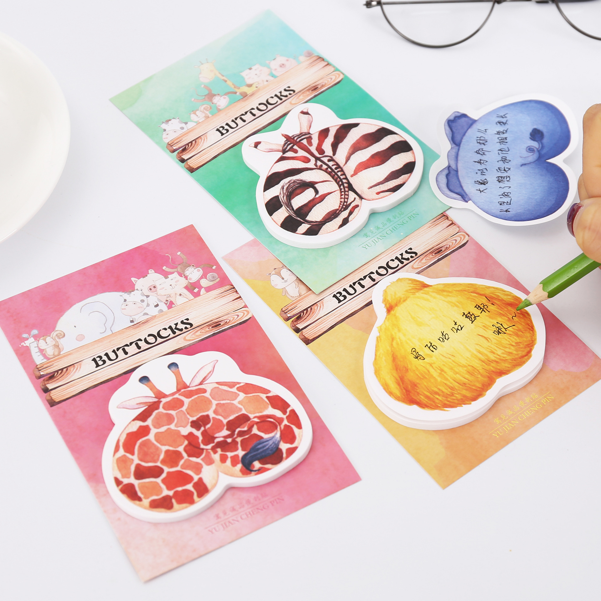 Cartoon Animal Hip Memo Pad Stationery Office Supplies Post It School Stationery Scrapbooking Sticky Notes Cute Planner