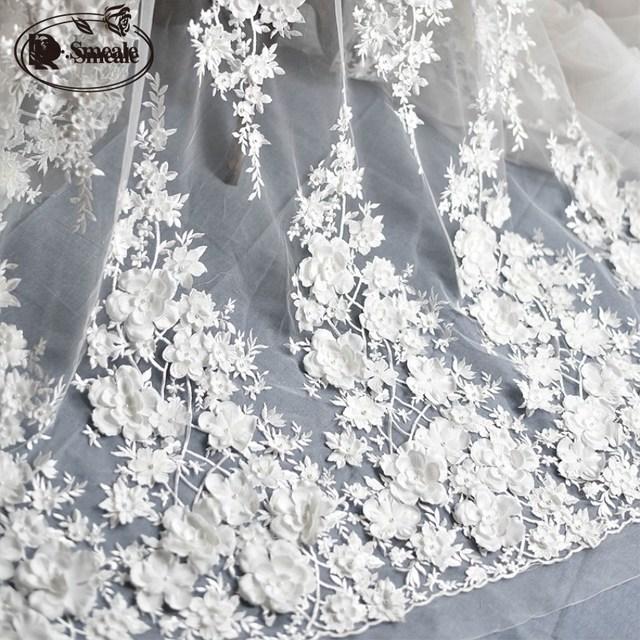 Elfenbein Weiß Hochzeit Kleid Spitze Stoff, 3D Chiffon Blumen Nagel satin Bead Hohe Ende Europäischen Spitze Stoff Freies Verschiffen RS583