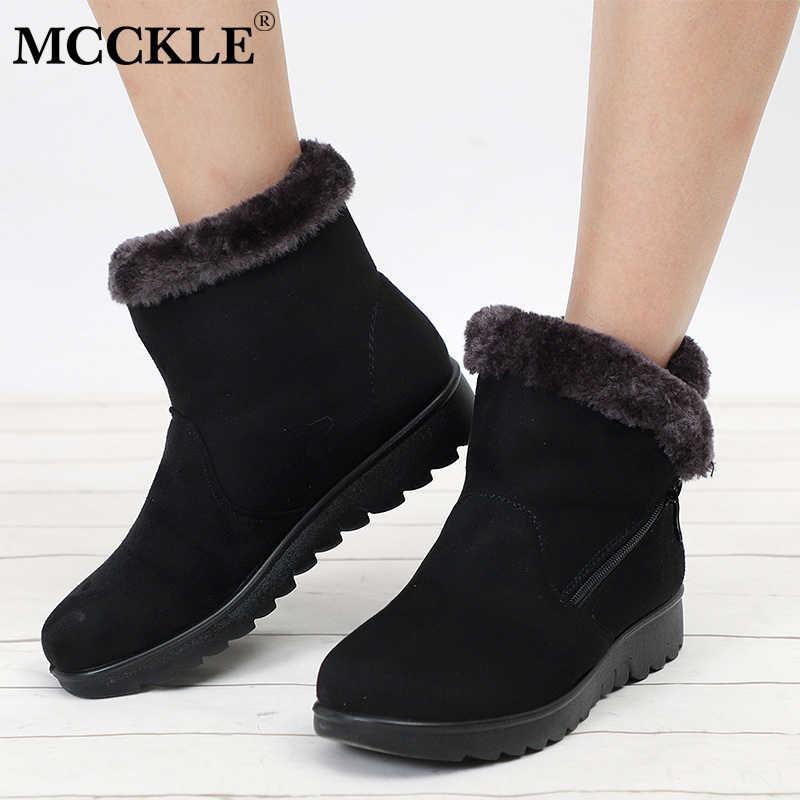 c637d88a5 MCCKLE/женские зимние ботинки на платформе, большие размеры, обувь на  плоской подошве,