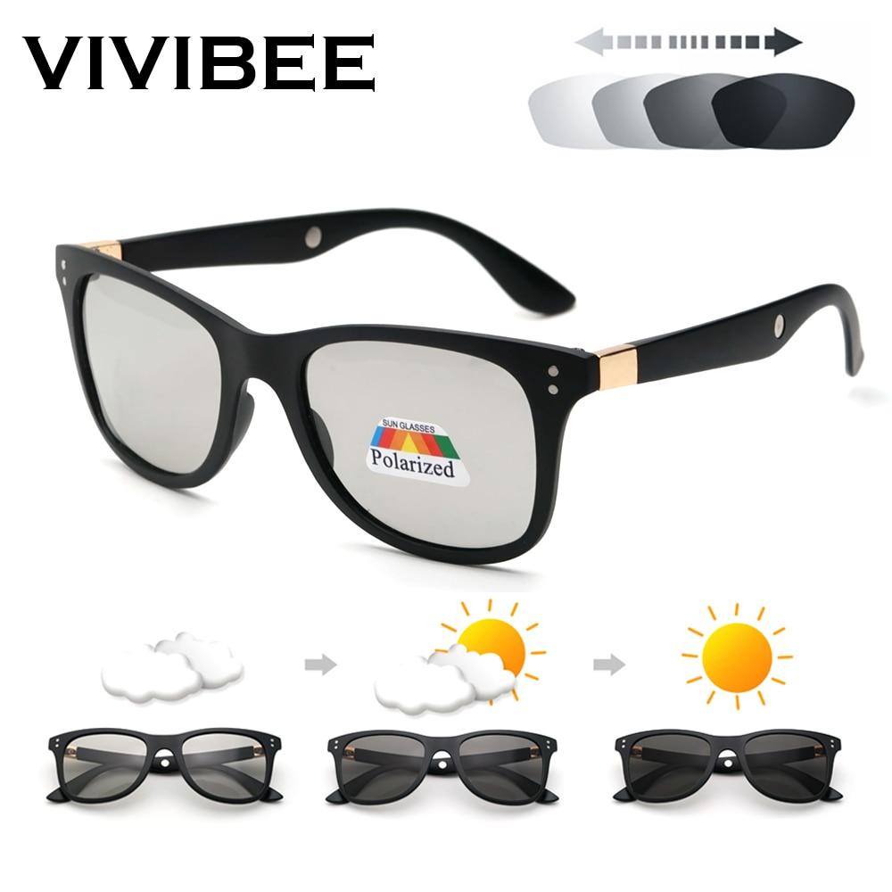 VIVIBEE Classic Square Transition Photochromic Men Sunglasses Polarized Matte Black Women Magnetic Therapy 2019 Sun Glasses