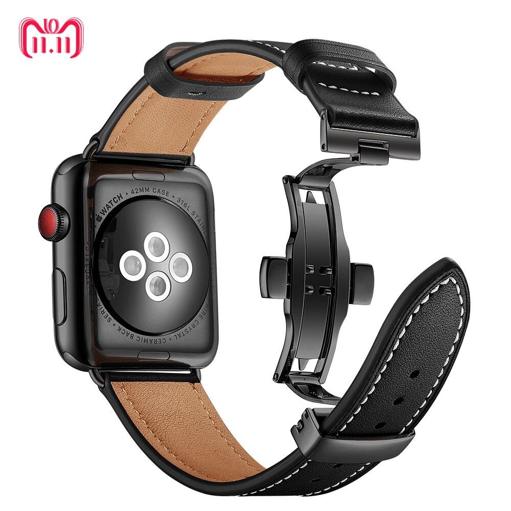 467afe08 Купить Кожаный ремешок для Apple watch группа 4 3 44 мм 40 мм iwatch Корреа  aple часы серии 42 мм 38 мм браслет Ремешки наручный ремень Продажа Дешево