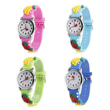 New 2016 Children Cartoon Cute Watches Waterproof Silicone Children Watches Quartz Kids For Girl Boys Wristwatches Fruit Pattern