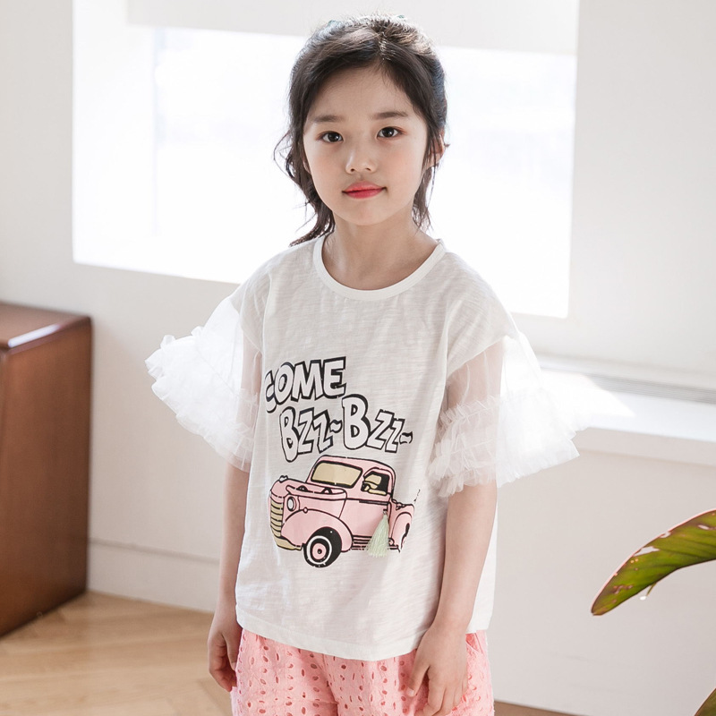 2018 New Summer Cool Children Sets Cartoon T-shirt + Hollow Out Shorts Girls Clothing Sets Kids Summer Suit For 8 9 10 12 Years