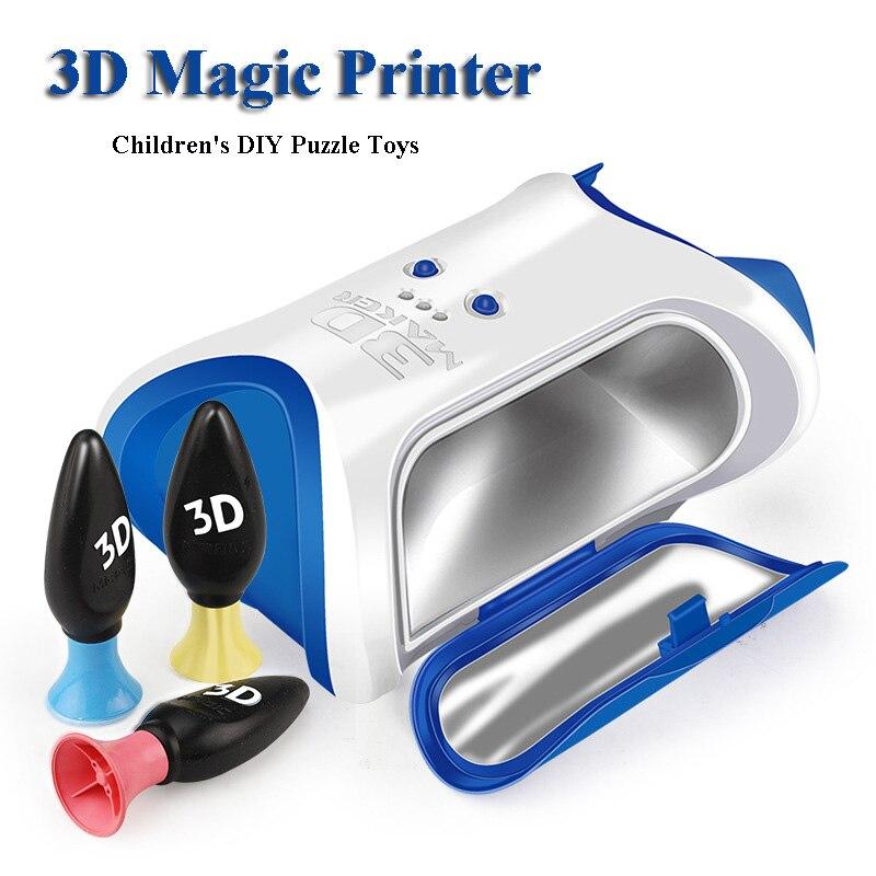 Bricolage à la main créatif peinture jouet 3D magique imprimante enfants Puzzle en trois dimensions magique impression Graffiti Interaction jouets