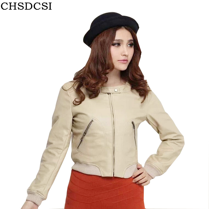 CHSDCSI PU Leather   Jacket   Autumn Fashion Street Women's Short Washed Zipper Bright Colors New Good Quality Ladies   Basic     Jackets