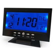 Голосовое управление задняя подсветка ЖК-дисплей Будильник Погода мониторы календари с таймером звук сенсор температура Декор Desktop настольные часы
