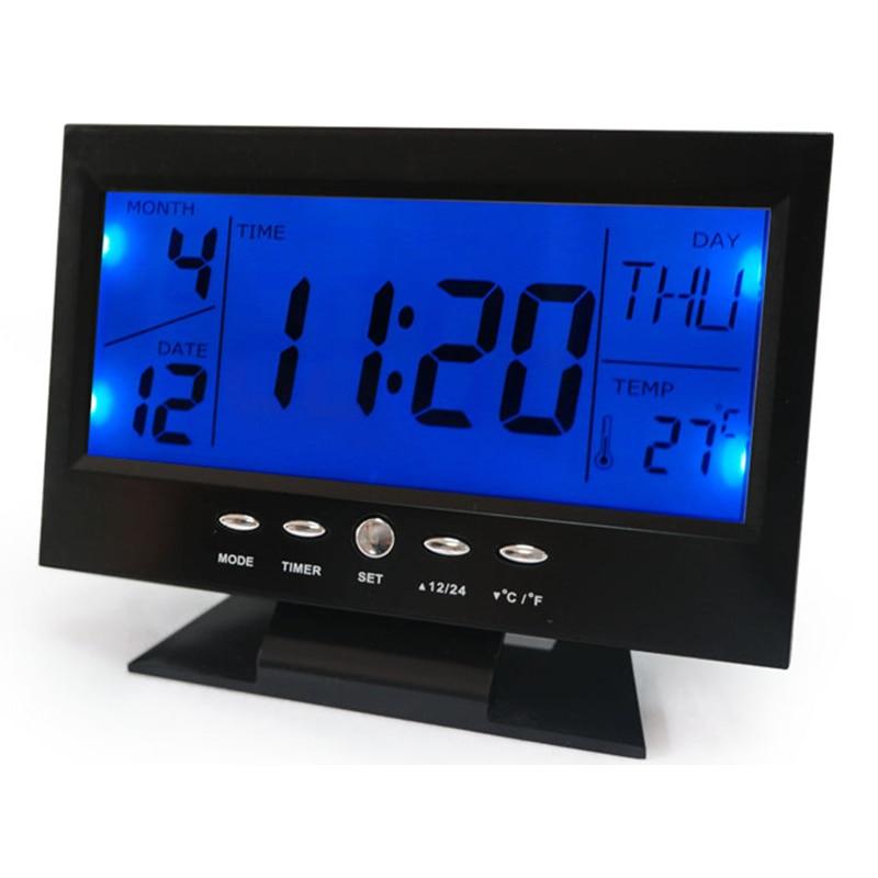 Voice Control Zurück-light LCD Wecker Wetter Monitor Kalender Mit Timer Sound Sensor Temperatur Decor Desktop Tisch Uhr