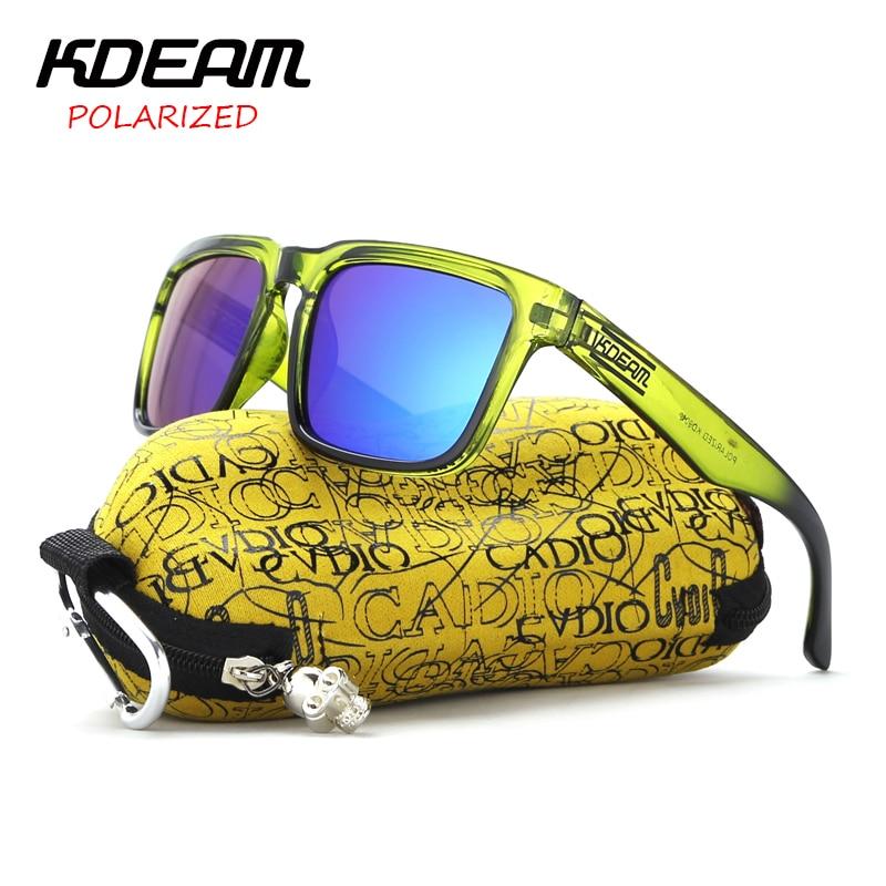 Мужские и женские очки с отражающим покрытием KDEAM, поляризационные Квадратные Солнцезащитные очки, брендовые дизайнерские очки с защитой ...