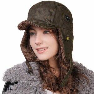 Image 4 - FANCET chapeau bombardier unisexe pour hommes, chapeau de pilote daviateur, protège oreilles, coupe vent, Ushanka, chapeau de chasse 88115