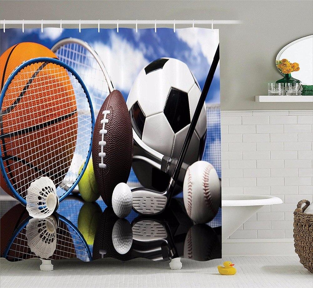 Soccer Shower Curtains Bathroom Curtain