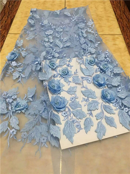 3d Lace SKY BLUE Fabric With Beads Sewing Material 5yard African Lace Fabric 2017 High Quality