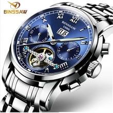 BINSSAW Automatische Tourbillon Männer Mechanische Uhr Marke Luxus Edelstahl Herren Business Armbanduhren uhren masculion