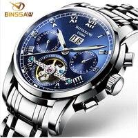 Binssaw Автоматическая Tourbillon Для мужчин механические часы Роскошные брендовые Нержавеющаясталь Для мужчин S Бизнес наручные Часы Relojes masculion
