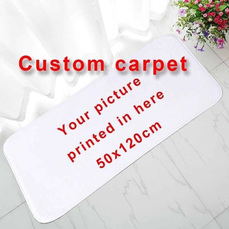 Thicken Flannel Personalized Custom Thicken Carpet Door Mat 50x120cm Doormat Kitchen Bedroom Parlor Rug Print Your Design Logo