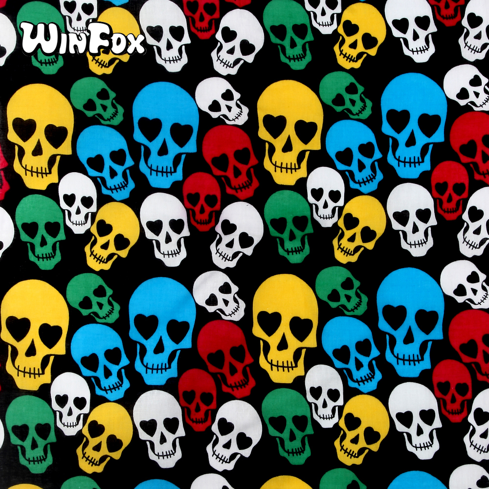 Winfox New Fashion 100% Cotton Multicolor Skull Pattern Female Head   Scarf     Wrap   Bandana Wristband Headband For Women Men