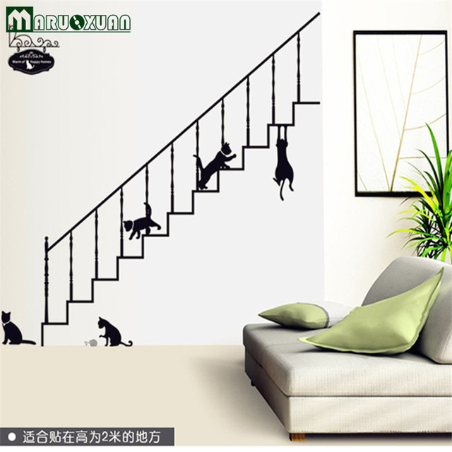 Wholesale Kitten Stair Cartoon Stickers Environmental Protection Can Remove  Fashion Household Wall Stick PVC Membrane Materials