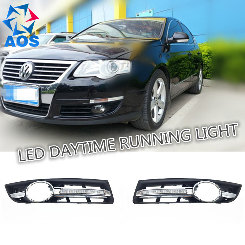2PCs/set car styling AUTO LED DRL Daylight Car Daytime Running lights set For Volkswagen VW passat B6 2007 2008 2009 2010 2011 1set car accessories daytime running lights with yellow turn signals auto led drl for volkswagen vw scirocco 2010 2012 2013 2014