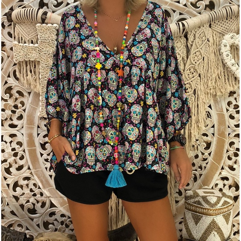 Casual Loose Spring Summer Plus Size Shirt Sexy Women Tops V Neck Shantou Print Three Quarter Sleeve Women's Clothing Blouses