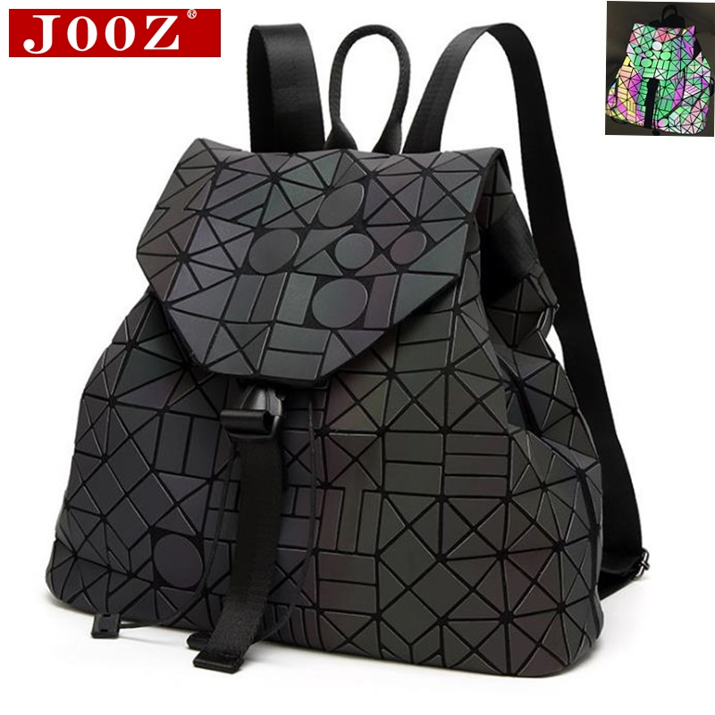 JOOZ Noctilucent irregular women backpack famous brand diamond stitching holographic bag laser holographic back pack For Girls