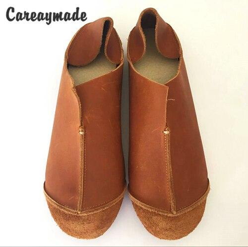 Careaymade-Genuine Leather pure handmade shoes,  the retro art mori girl shoes,Women's casual shoes Flats shoes,two way to wear genuine leather cover pure handmade card