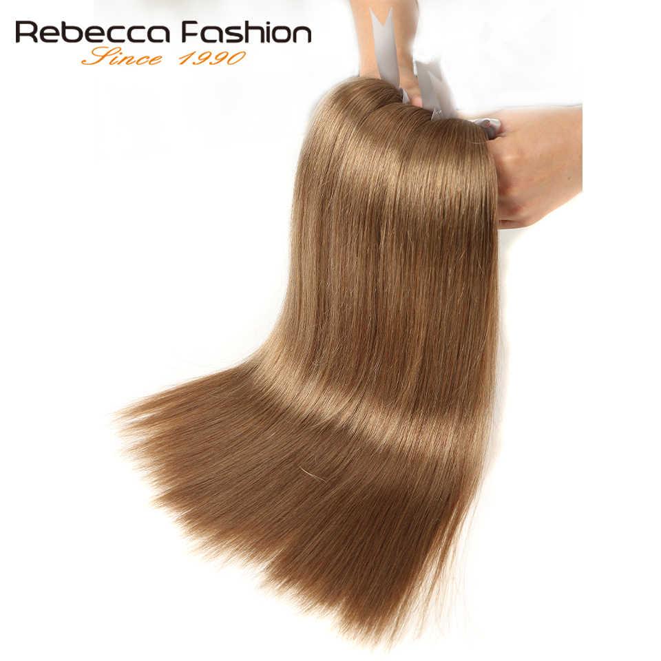 Rebecca 1 Paket Fırsatlar Düz Saç Brezilyalı Saç Örgü Demetleri Renk 8 # Kahverengi % 100% Remy İnsan Saç 14- 24 inç Ücretsiz Kargo