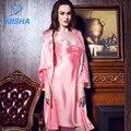 2017 High Grade Весна Лето ИМИТАЦИОННЫЕ ШЕЛКОВЫЙ Мягкая Гладкая Шелк Сексуальное ночной халат для Женщин включает в себя два набора с M, L, XL размер SP1619