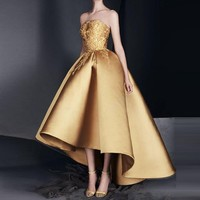 Gold Appliques Evening Dresses Custom Made abendkleider vestidos de festa Off Shoulder Evening Gown avondjurken gala jurken