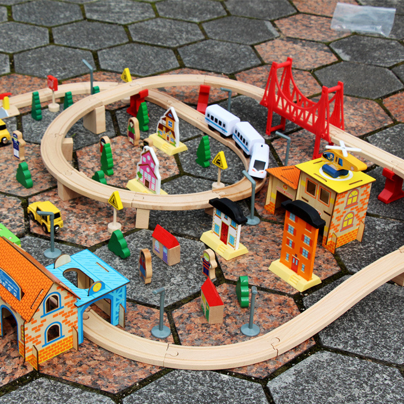 Railway Overpass Train Track Wood Set Ring Road Wooden Track Railway Toy Educational Toys with 108 Pieces for Boy Gift Juguetes