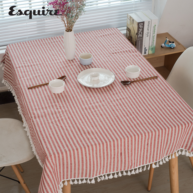 ESQUIRE Modern Linen Cotton Table Cloth Rectangular / Square Tassel Tablecloth Red Strip ...