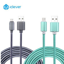 iClever Micro USB Cable for Samsung HTC Huawei Fast Charger Data Metal Braided Cable for Xiaomi Android Mobile Phone Cables 1M
