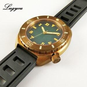 Image 3 - Lugyou San Martin Vintage Männer Uhr Bronze Sapphire Leucht Lünette California Grün Zifferblatt Gummi Schwarz 500m Wasser Widerstand Glow