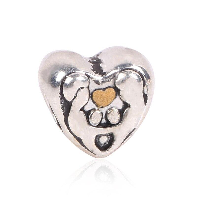 AIFEILI 1pc Silver Color Loving Couple Holding Hands Heart Big Hole Bead Charm Fits European Pandora Charm DIY Bracelets