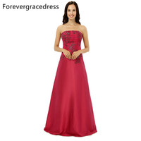 Forevergracedress Real Sample Modest Evening Dress A Line Strapless Applique Backless Long Formal Party Dress Plus