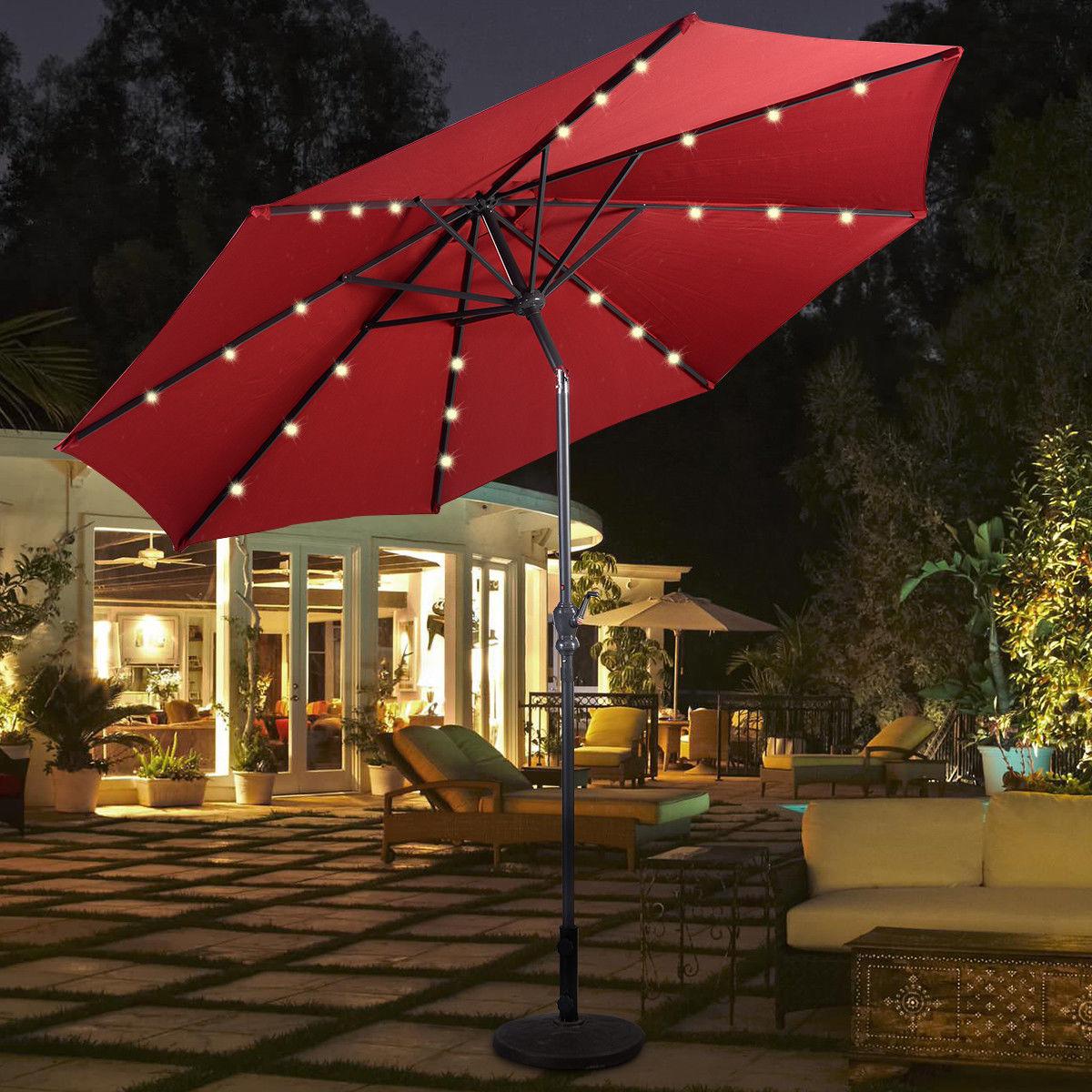 Costway 10ft Patio Solar Umbrella LED Patio Market Steel Tilt W/ Crank Outdoor (Burgundy)