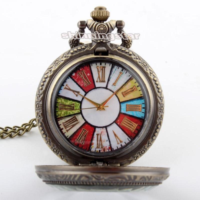Бронзовые Красочные колеса римские карманные часы ожерелье подвеска цепь Винтаж стимпанк кварцевые часы мужские relogio de bolso