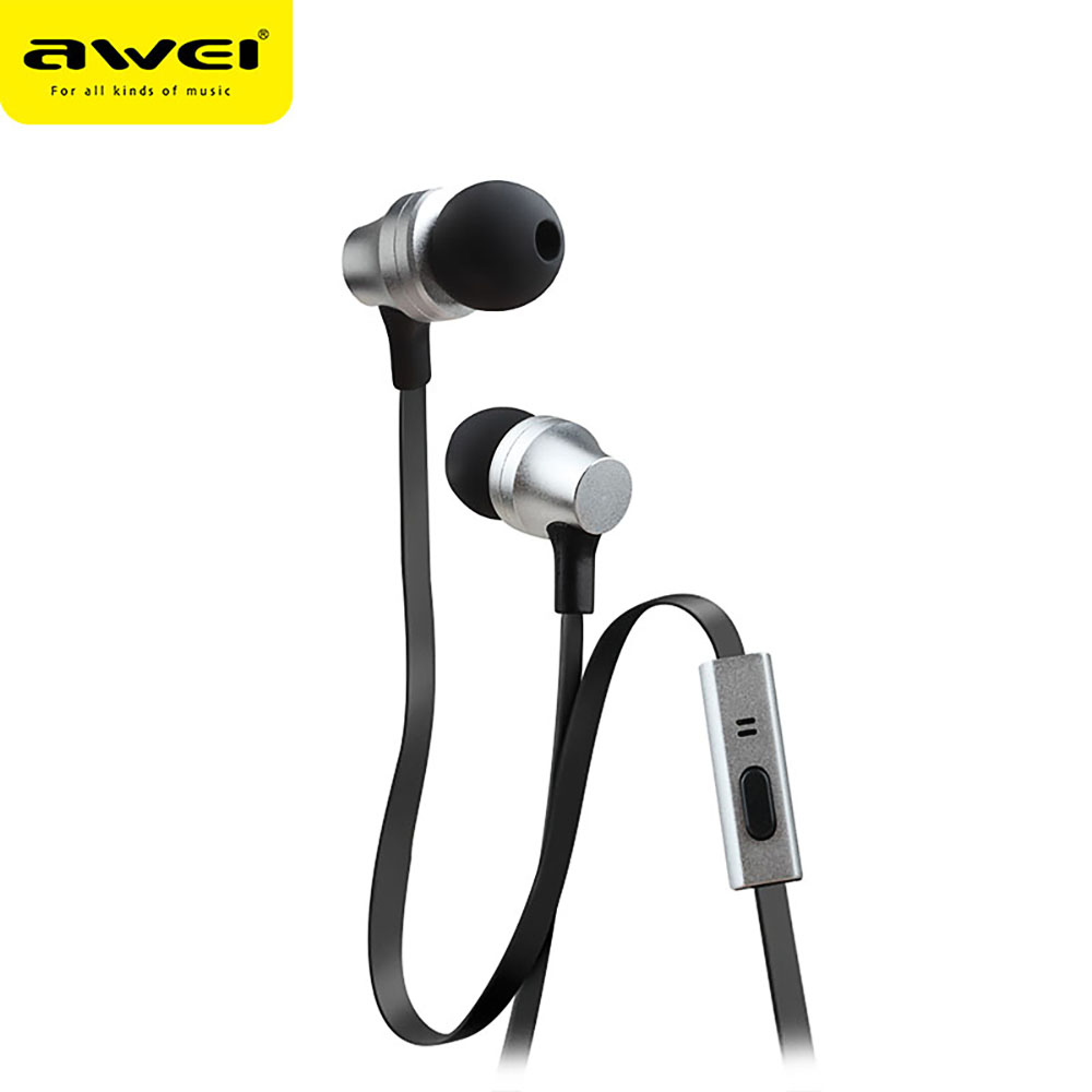 AWEI ES910i 3.5MM Plug Jack Stereo Earphones Deep Bass Noise Cancelling In-ear Headset With microphone earpods sibyl m 27 stylish stereo bass in ear earphones pink 3 5mm plug 120cm cable