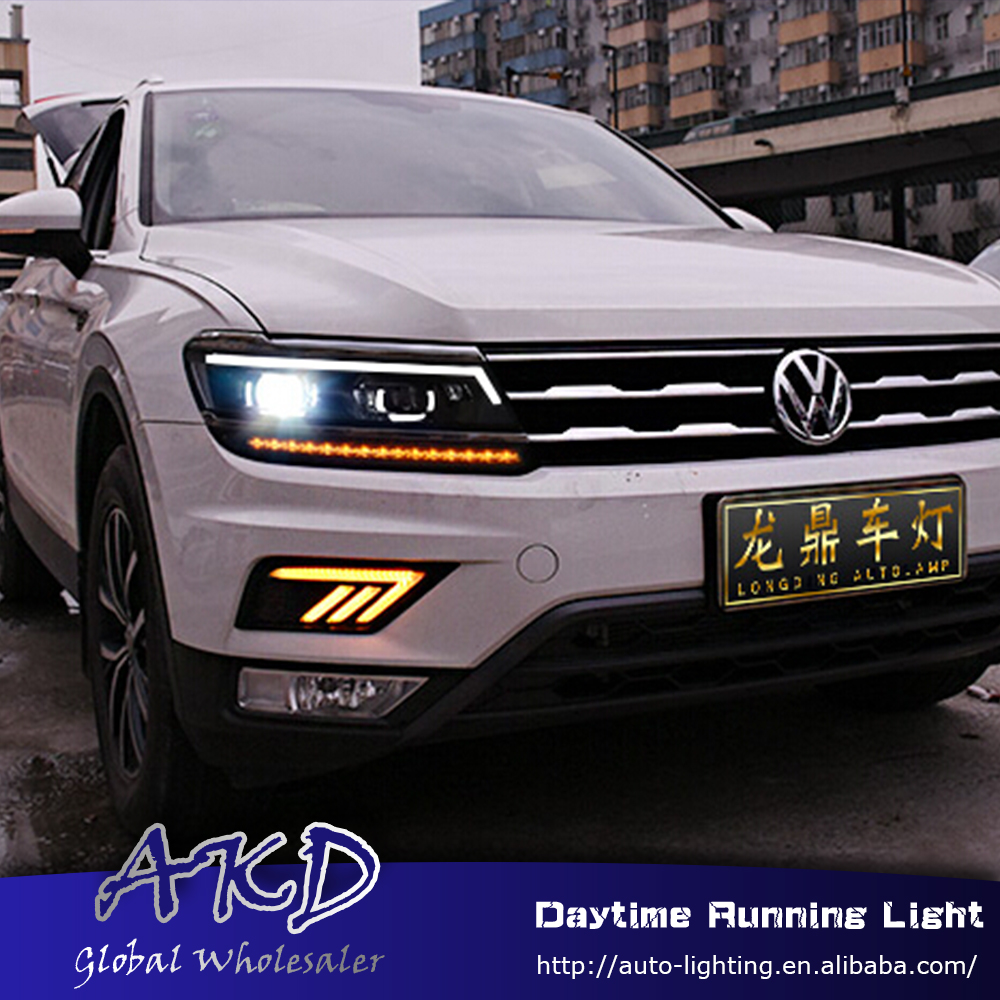 AKD Car Styling for VW Tiguan 2016-2017 LED DRL for New Tiguan Turning Led Drl Running Light Fog Light Parking Accessories akd car styling for kia sportage r drl 2014 new sportager led drl korea design led running light fog light parking accessories