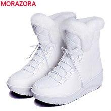 MORAZORA 2017ใหม่รัสเซียฤดูหนาวรองเท้าหิมะหนาขนภายในแพลตฟอร์มรองเท้าผู้หญิงเวดจ์ส้นผู้หญิงข้อเท้ารองเท้าหญิง