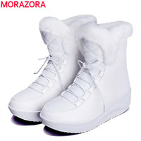 MORAZORA 2017 New Russia Winter Snow Boots Thick Fur Inside Platform Shoes Woman Wedges Heel Women