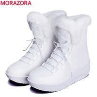 MORAZORA 2017 New Russia Winter Snow Boots Thick Fur Inside Platform Shoes Woman Wedges Heel Women