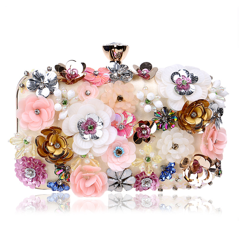 Women's Evening Clutches with Colorful Flowers and Pearls, Popular In Europe and America,chain Bag цена 2017
