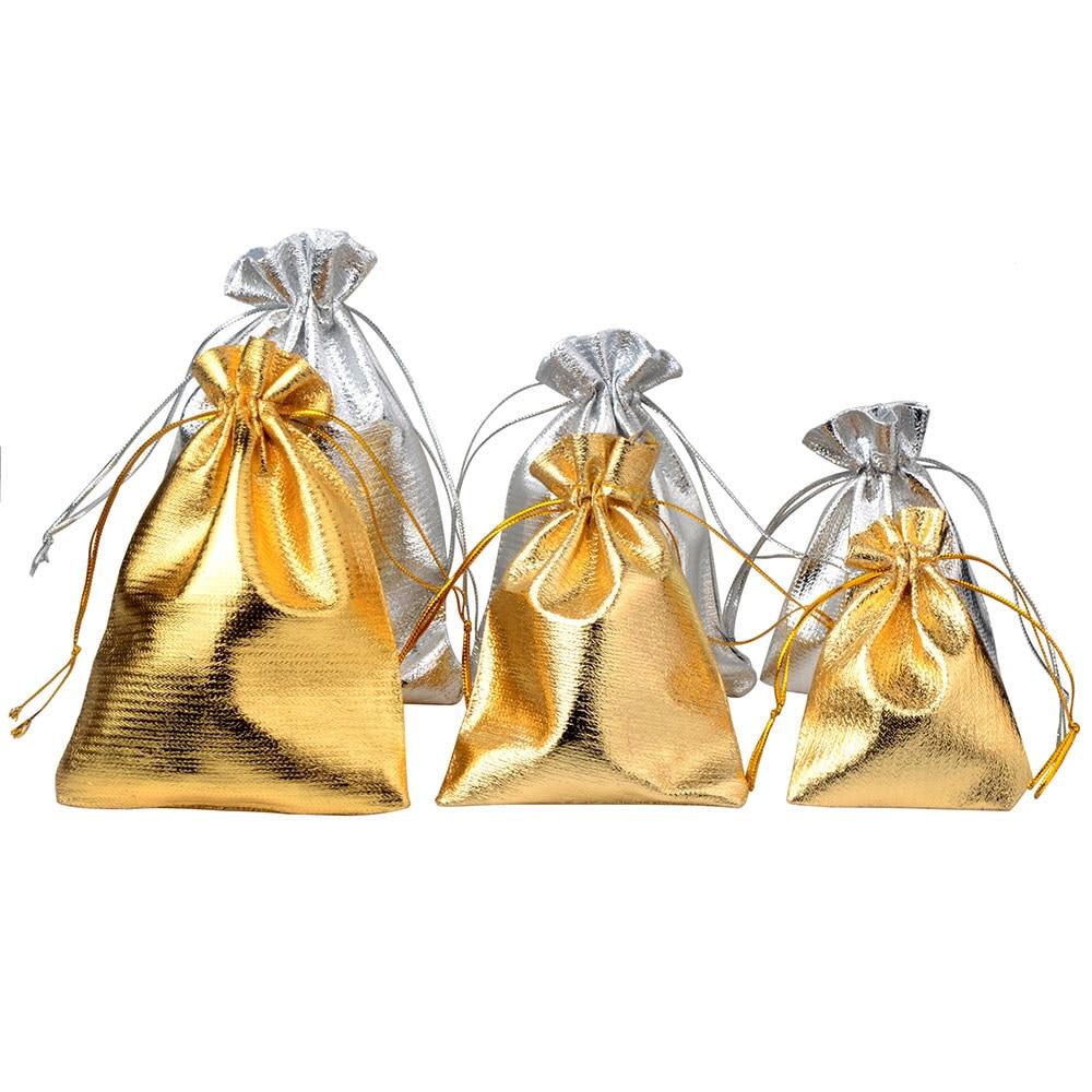 25pcs/lot Jewelry Packing Silver Gold Foil Cloth Drawstring Velvet Bag 7x9cm 9x12cm 10x15cm Wedding Gift Bags & Pouches