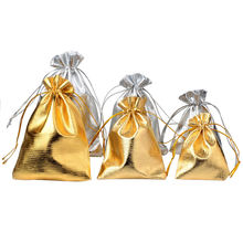 25pcs/lot Jewelry Packing Silver Gold Foil Cloth Drawstring Velvet Bag 7x9cm 9x12cm 10x15cm Wedding Gift Bags & Pouches(China)