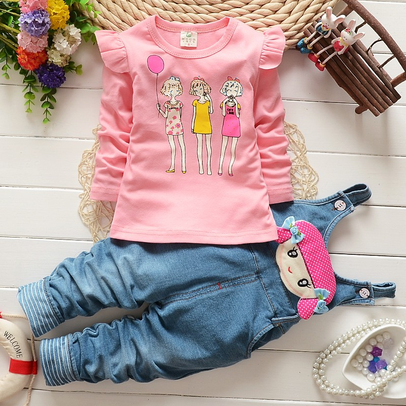 Fashion-Spring-Autumn-Baby-Girls-Clothing-Set-Kids-Girls-T-shirt-Overalls-2-pcs-Clothes-Set
