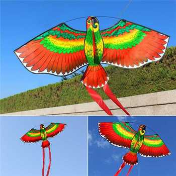 1Pc Red Parrots Kite Bird Single Line Breeze Kite Flying Outdoor Flying Fun Sports For Kids 110*80cm 1
