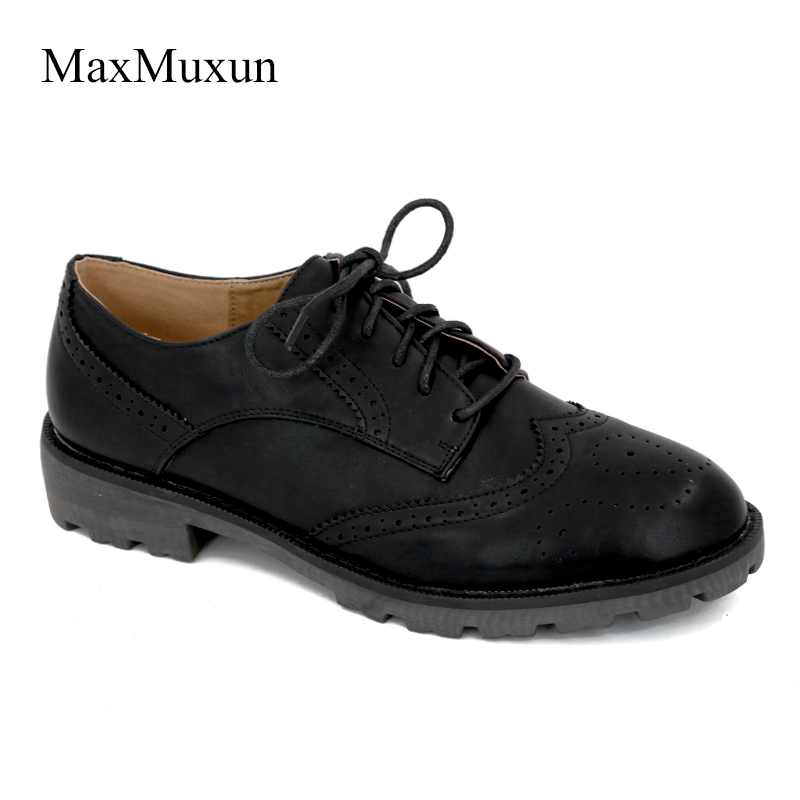 MaxMuxun Women Flats Wingtip Oxford Shoes 2018 Autumn Genuine Leather Lace Up Round Toe Vintage Carved Brogue Loafers Size 36-41 vintage embroidery women flats chinese floral canvas embroidered shoes national old beijing cloth single dance soft flats