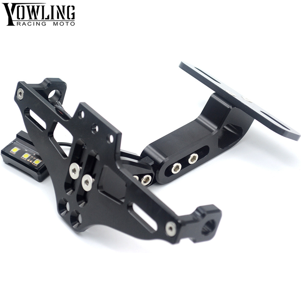 Motorcycle Accessories CNC License Plate Mount Holder with LED Light For Yamaha T-Max 500 T-Max 530/ABS Tracer 900 ABS V-MAX