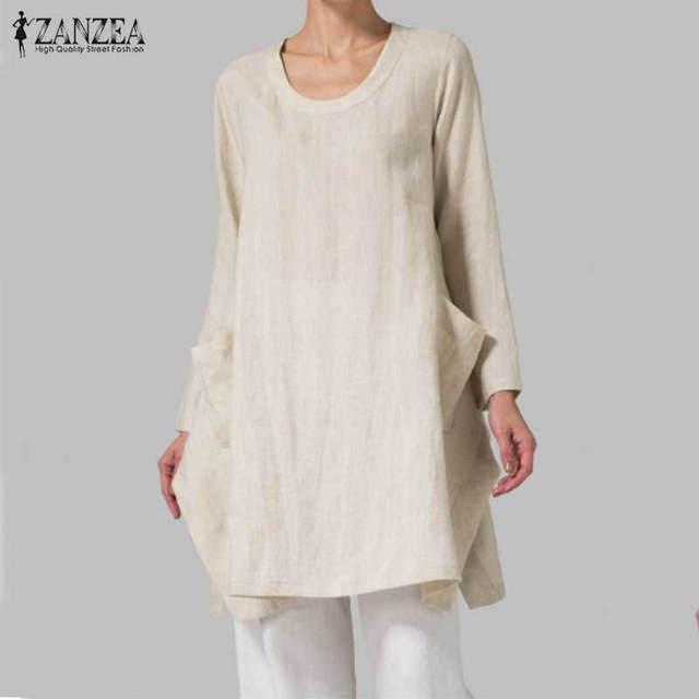 b8756eb59f09b ZANZEA Women 2018 Autumn Cotton Blouses Retro Long Sleeve Pockets  Asymmetrical Split Hem Blusas Shirts Oversized Tops Plus Size-in Blouses    Shirts from ...