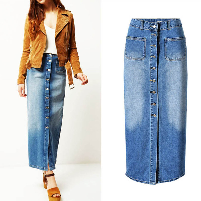 593f6205cf Top Quality Women Ankle Length Denim Maxi Skirt Single Breasted Split  Vintage Jeans High Waist